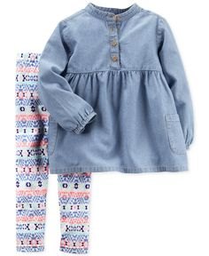 Crafted from versatile chambray denim, this breezy tunic is paired with lively aztec-printed leggings in this two-piece set from Carter's. | Top:Cotton ,leggings: cotton/elastane | Machine washable |