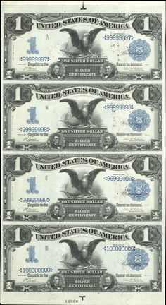 US 1 Dollar Note Series of 1899 Serial Signatures: Lyons/Roberts Eagle Portraits: Abraham Lincoln & Ulysses S.