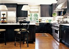 Country Home. Black cabinets are awesome.