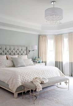 Pair of ivory and grey color-block linen curtain panels, colorblock drapes, window treatments,