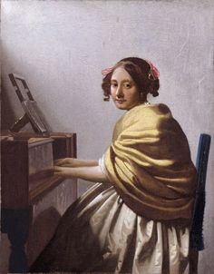 Johannes Vermeer (Dutch 1632–1675) [Baroque, Dutch Golden Age] A Young Woman Seated at a Virginal, c. 1670-1672. Private Collection.