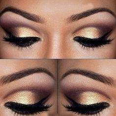 Golden smokey eye make up Gold Eye Makeup, Kiss Makeup, Prom Makeup, Hair Makeup, Bridesmaid Makeup, Dance Makeup, Formal Makeup, Night Makeup, Black Makeup