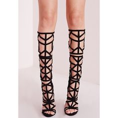 Missguided Laser Cut Knee High Heeled Sandals ($61) ❤ liked on Polyvore featuring shoes, sandals, heeled sandals, laser cut sandals, party shoes, faux suede shoes and high heel shoes