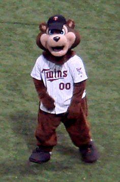 "Bear"" the mascot for MLB Minnesota Twins. Baseball Uniforms, Baseball League, Baseball Bats, Mlb, Bats For Sale, Basketball T Shirt Designs, Minnesota Twins Baseball, Helmet Logo, Gyms Near Me"