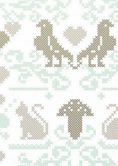 KEK Amsterdam Behang papier wit/grijs/groen - borduurpatroon - embroidery