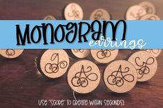 AD Glowforge Project Idea - Quick Monogram Scored Earrings! Justina Tracy Crafters Laser Engraving How To Make Buttons, Glue Crafts, Design Bundles, School Design, Honeycomb, Laser Engraving, Scores, Cutting Files, 3d Printer