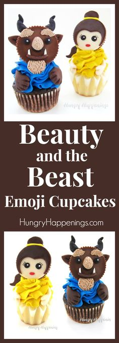 Decorate Reese's Cups using candy clay (modeling chocolate) to create stunning Beauty and the Beast Emoji Cupcakes. Kids and adults will fall in love with these sweet fairytale treats.