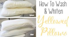 (DIY) How To Wash and Whiten Yellowed Pillows   HOT HOT HOT water •1 cup of laundry detergent •1 cup powdered dishwasher detergent •1 cup bleach..Not only is the pillow-washing process much easier than anticipated, but also works like a CHARM!