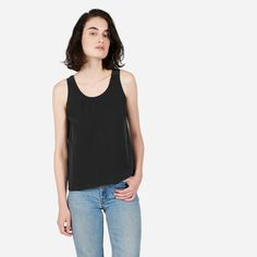 A relaxed shape and drapey silk take this simple tank up a couple notches.
