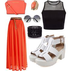 A fashion look from May 2015 featuring cropped shirts, red skirt and high heeled footwear. Browse and shop related looks. Red Skirts, Crop Shirt, Oasis, Polyvore Fashion, Fashion Looks, Michael Kors, Orange, Shirts, Shopping