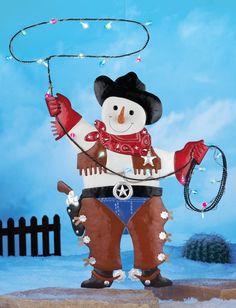 cowboy snowman with lasso lights