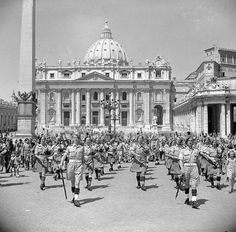 The band of the Irish Brigade plays in front of St Peter's Basilica, June 1944 ◆Vatican City - Wikipedia http://en.wikipedia.org/wiki/Vatican_City #Vatican