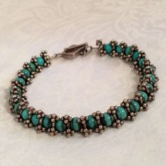 Sterling Silver 925 Turquoise Blue Howlite Bead Beaded Bracelet Handcrafted | eBay