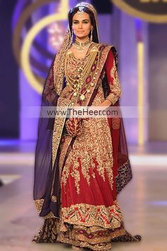 BW5435 Carmine Indigo Web Crinkle Chiffon Sharara Traditional Red Bridal Outfits by Designer HSY at Bridal Couture Week 2013 Atlanta Georgia Bridal Wear