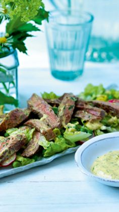 A great celebratory steak salad dish featuring strips of steak combined in a creamy coronation style dressing served with gem lettuce, radishes and fresh peas and takes under 20 minutes to prepare. Easy Steak Recipes, Cooking Recipes, Little Gem Lettuce, Pea Salad Recipes, Salad Dishes, Beef Sirloin, Steak Salad, Dressing, Fresh