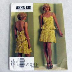 Vogue 1105 Misses Dress Anna Sui Flounce Summer Pattern Size 12 14 16 18 Uncut #VoguePatterns #Contemporary