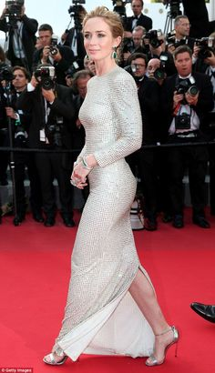 Emily Blunt figure hugging silver gown at Cannes ~ Best Celebrity Legs in High Heels
