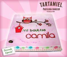 Pastel decorado, Bautizo, Búho ...