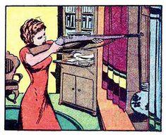 Comic book pop art illustration girl with gun Art Pulp Fiction, Pulp Art, Bd Comics, Horror Comics, Crime Comics, Comic Books Art, Comic Art, Vintage Pop Art, Comic Manga