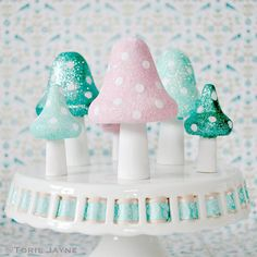 Glittered Toadstools tutorial by Torie Jayne