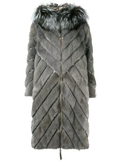 Grey mink fur, fox fur and feather down padded hooded coat from Liska. Fur Fashion, Winter Fashion, Vintage Fur, Faux Fur Vests, Mink Fur, Winter Accessories, Size Clothing, Dress To Impress, Hoods