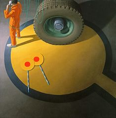"Painting by Jeffrey Smart - ""Night Stop Bombay"" Australian Painting, Australian Artists, Jeffrey Smart, Industrial Paintings, Magic Realism, Smart Art, A Level Art, Yellow Painting, Op Art"