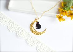 Moon Cat Necklace with a Healing Stone rose by CalalaSpoonCat