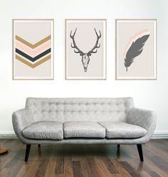 Sud-ouest du mur minimaliste Chic Art Print - Deer crâne Wall Art - andouiller Tenture murale - décoration de la maison de gitan Boho - Neutral crème Art fusain