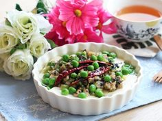 Steamed Tofu with Minced Pork and Mustard Green