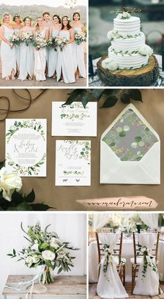 Greenery wedding palette. Green and grey wedding. Neutral wedding bouquet. White rose wedding. Natural wedding colors. Minimalist wedding. Modern wedding. Eucalyptus wedding bouquet. White wedding cake. Sage wedding invitations by Unica Forma. Sage bridesmaids dresses.