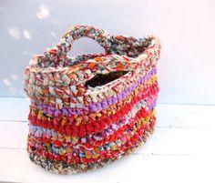 Rag Bag --- Eco Friendly Crocheted Bag. $33.00, via Etsy.