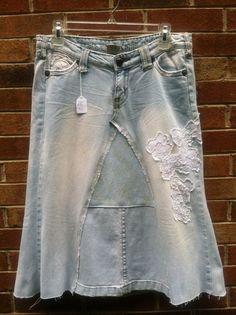 Ladies Handmade Below Knee Jean Skirt Size by ...
