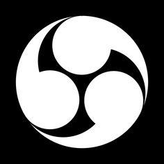 右三つ巴 みぎみつどもえ Migi Mitsu domoe  The design of the 3 Tomoe(right).