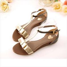 Casual Women Sandals Bow Wedges Shoes