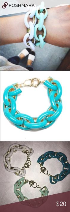 Chain link enamel bracelets ✨New✨ T&J Designs chain link enamel bracelets in White, Mint, or Turquoise! Perfect holiday gift! Please view all photos and ask any questions you may have prior to purchasing. Three of each color available!  ❌Trades❌         List Price is for One Bracelet, color of your choice while supplies last; Price Firm T&J Designs Jewelry Bracelets