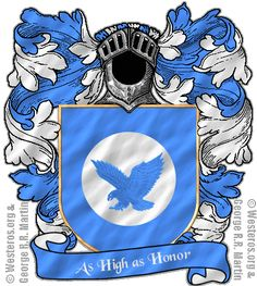 House Arryn of the Eyrie. A sky-blue falcon soaring against a white moon, on sky-blue