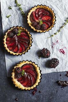 Plum and blackberry tartlets