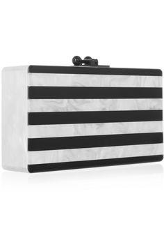 (Striped clutch 1 of 2) Lovely Jean black & white striped pearl-effect box clutch❣Edie Parker • via NET-A-PORTER.COM