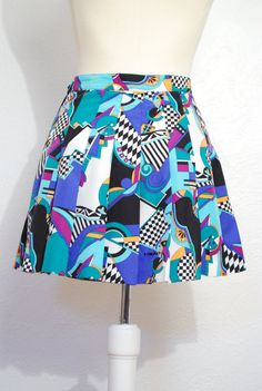 vintage 1980s / psychedelic print / mini skirt / high by YeYe, $38.00