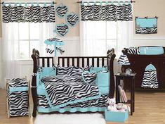 Blue Zebra Crib Bedding - 9pc Baby Girl Nursery Set Black White Zebra Print & Turquoise Blue