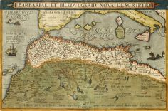 Abraham Ortelius, Northwest African Coast.  Barbariae et Biledvlgerid, Nova Descriptio (A new representation of Barbary and Biledulgerid). From Theatrum Orbis Terrarum, Antwerp, 1603.