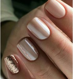Vernis à ongles nude Cute neutral and rose gold nails Gold Nail Designs, Best Nail Art Designs, Nails Design, Rose Gold Nail Design, Neutral Nail Designs, Classy Nail Designs, Pink Gold Nails, Sparkle Nails, Gold Manicure