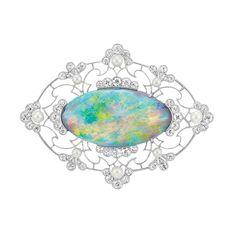 Edwardian Platinum, Black Opal, Diamond and Pearl Brooch