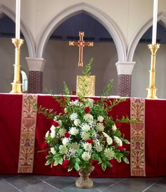 Altar flowers of roses, Queen Anne's Lace, baby's breath, Ruscus (Team 2/ 6-7-14)
