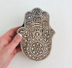 Wooden Hamsa Stamp Large Hand of Fatima Evil Eye Amulet