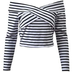 Striped Off Shoulder Front Criss T-Shirt ($21) ❤ liked on Polyvore featuring tops, t-shirts, shirts, blusas, crop tops, long sleeves, off the shoulder shirts, striped off-the-shoulder tops, crop tee and tee-shirt