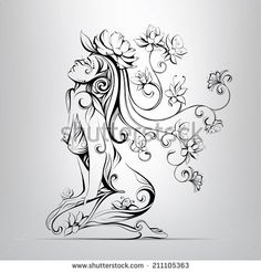 Flower Drawing The Girl With Hair From Flowers Stock Vector Illustration 211105363 : Shutterstock - Pencil Art, Pencil Drawings, Art Drawings, Flower Drawings, Fairy Coloring, Coloring Pages, Tattoo Hada, Phenix Tattoo, Fairy Tattoo Designs