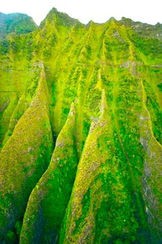 Hawaii, green peaks of Molokoi  Would like to paint this w blue sky...