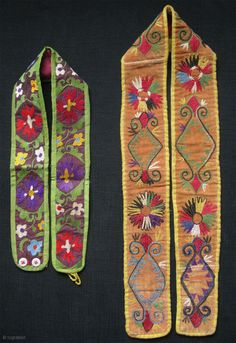 """Tajikistan - Lakai belts. Silk embroidery on silk (Green background) and silk embroidery on contton. Early 2oth C. Size: 5cm x 62cm - 2"""" x 24"""" and 6cm x 91cm - 2.5""""  ..."""