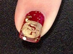 San Francisco 49ers Nail Polish Art, New Nail Art, Toe Designs, Cool Nail Designs, Cute Nails, Pretty Nails, 49ers Nails, Hair And Nails, My Nails